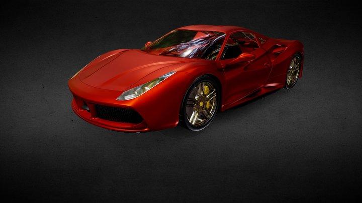 Red Ferrari 488 GTB 3D Model