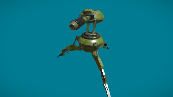 Low poly Turret 3D Model