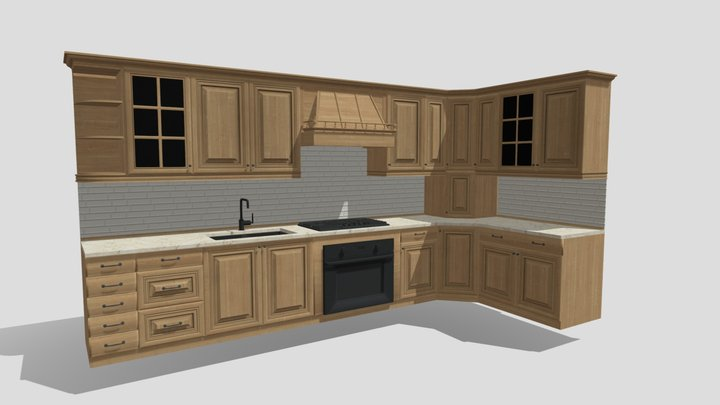 Low Poly Kitchen Cabinets 3D Model