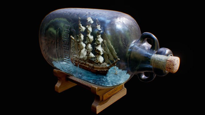 Ship in a bottle 3D Model