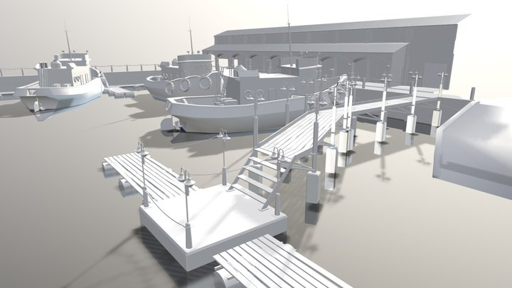 Harbor Scene With Pier And Boats 2 0 3D Model