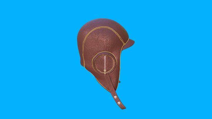 Leather Aviation Pilots Helmet 3D Model