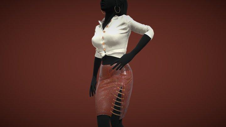 Female Crocodile Outfit 3D Model