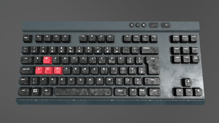 Mechanical Gaming Keyboard (Worn Metal) 3D Model