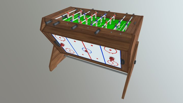 Game table 3 in 1 football air hockey billiards 3D Model