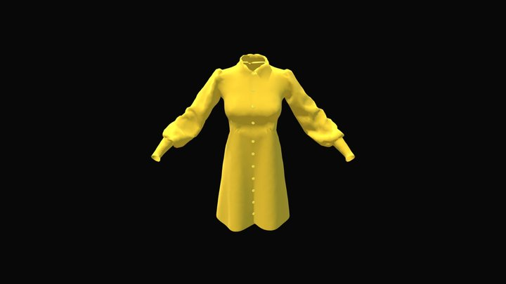 Dress with puffed sleeves 3D Model