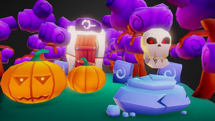 Halloween Scene 3D Model