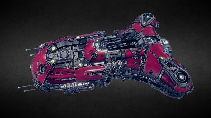 Starfall Tactics — Ichaival Vanguard battleship 3D Model