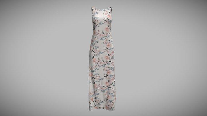 Slip Dress White Print 3D Model