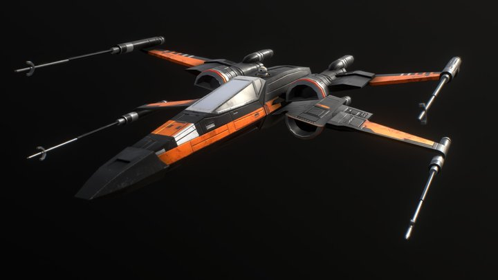 "Incom-FreiTek T-70 X-wing - ""Black One"" 3D Model"