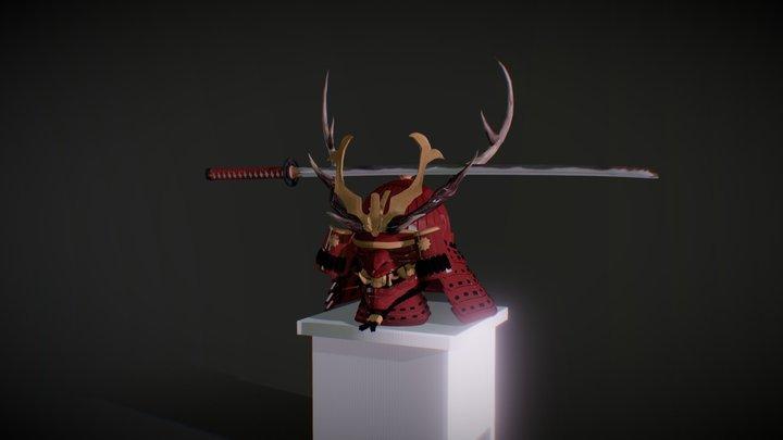 Kabuto & katana 3D Model