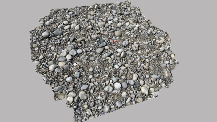 River gravel surface, Germany 3D Model