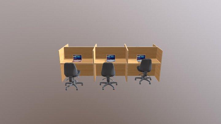 Call Centre Desks Custom 3D Model