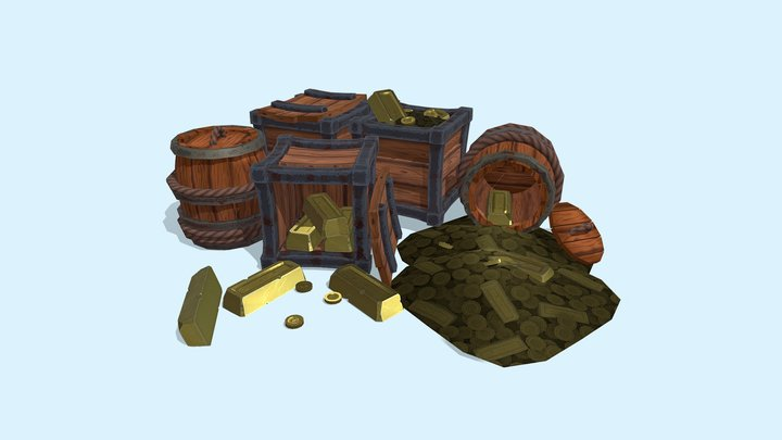 Stylised Barrels And Crates 3D Model