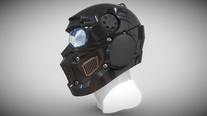 CAD-friendly Helmet H1V1 and male M1P1D0V1head 3D Model