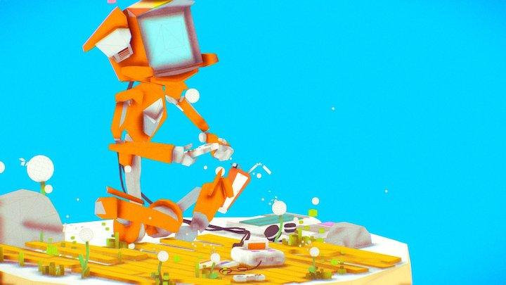 90s CRT Robot - Google Blocks Livestream 01 3D Model
