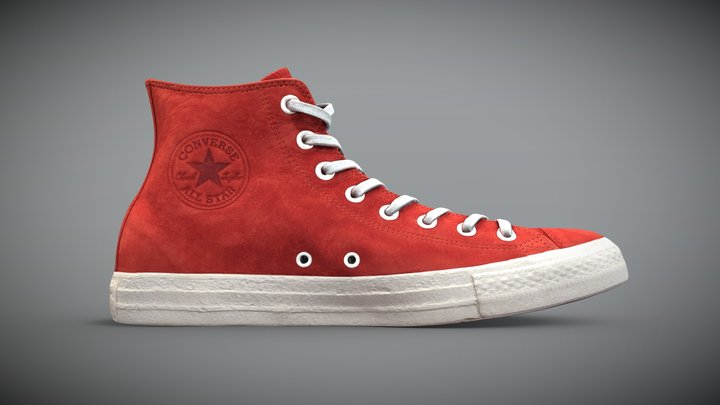 Converse All Star (Red leather) 3D Model