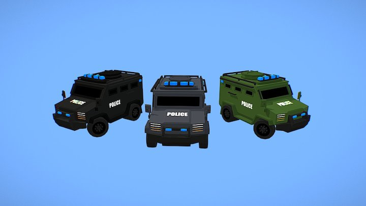 Low Poly SWAT Trucks 3D Model