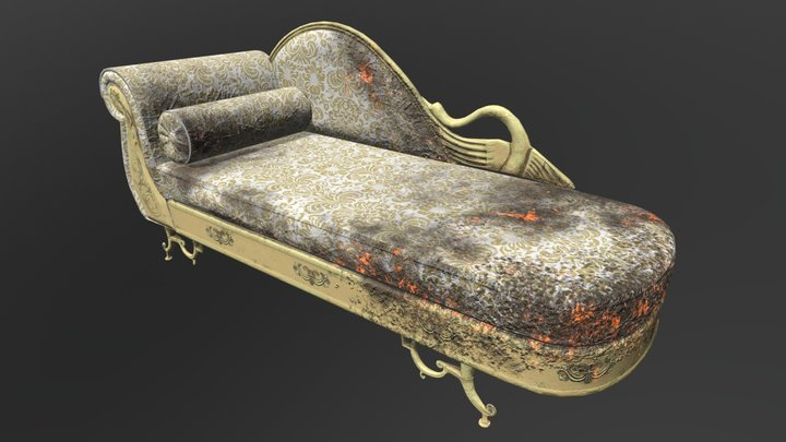 Low-Poly Chaise Lounge 3D Model