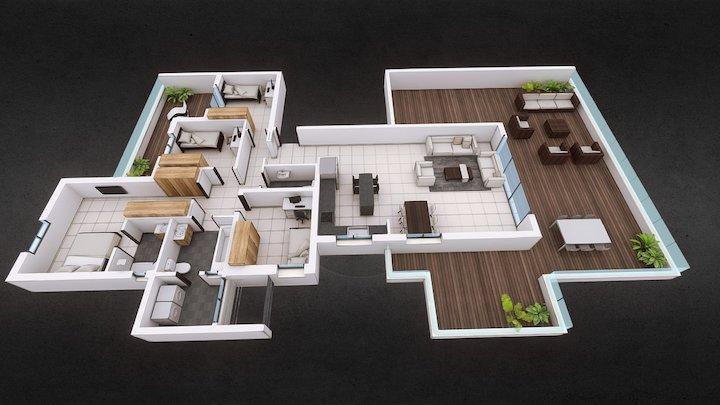 Penthouse Floor Plan 3D Model