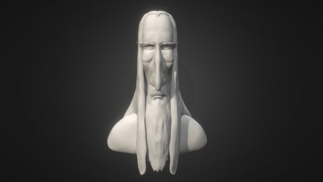 Saruman Caricature 3D Model