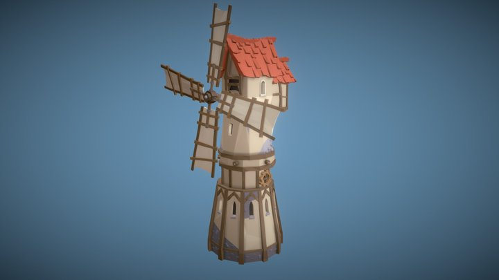 Medieval Low Poly Windmill 3D Model