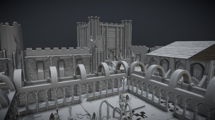 Medieval Castle And Abbey With Cloister 3D Model