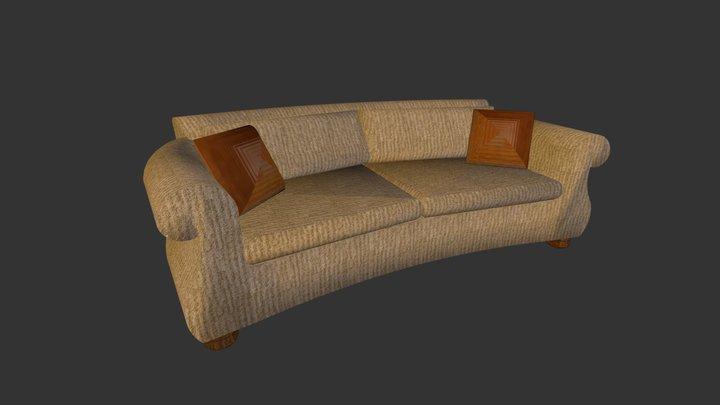 Tan Sofa With Pillows 3D Model