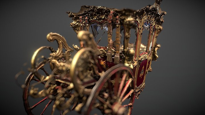Maximilian's Carriage in Chapultepec Castle 3D Model