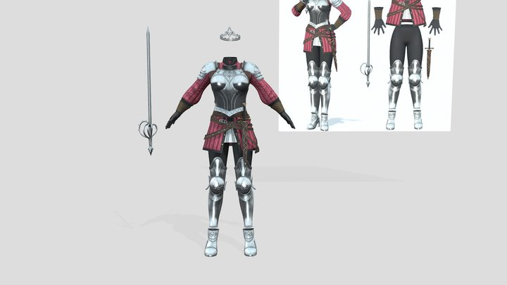Full Female Medieval Knights Armour Suit 3D Model