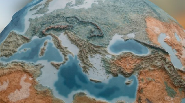 Europe Relief Map 3D Model
