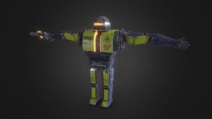 SciFi Robot Pistol Enemy Elements Video Game PBR 3D Model