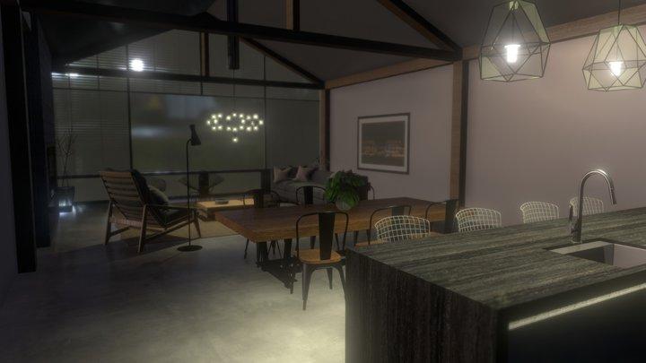 Lake/Flato's House at night 3D Model
