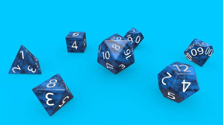 Blue Marble Dice Set RPG 3D Model