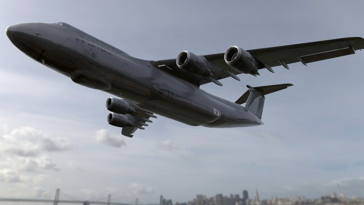 US Cargo Plane with Real World Graphics 3D Model