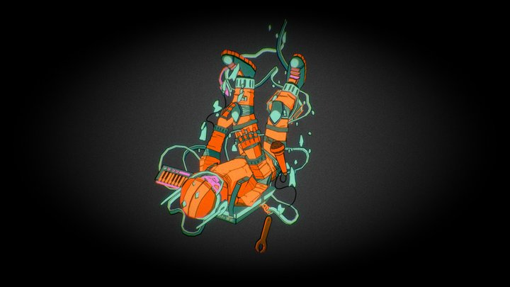 Tenhun Falling spaceman (FanArt) 3D Model