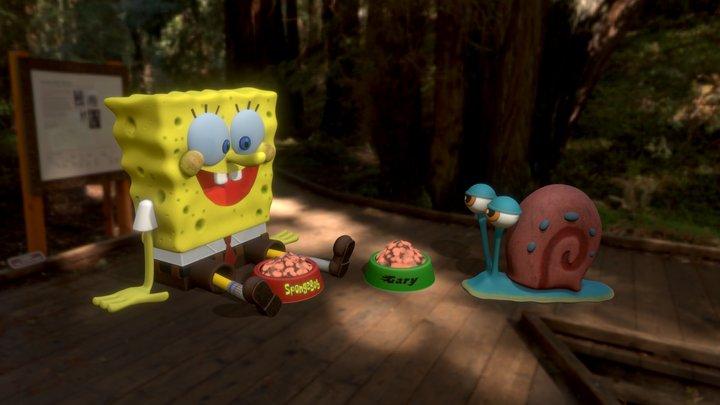 SpongeBob and Gary 3D Model