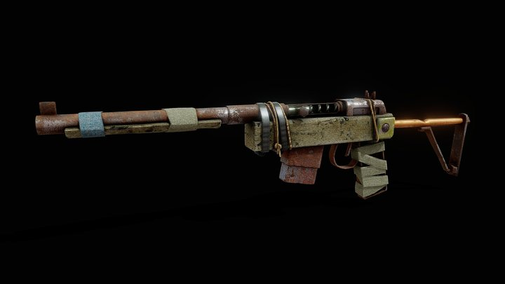 Semi Auto Rifle - Rust (LowPoly) 3D Model