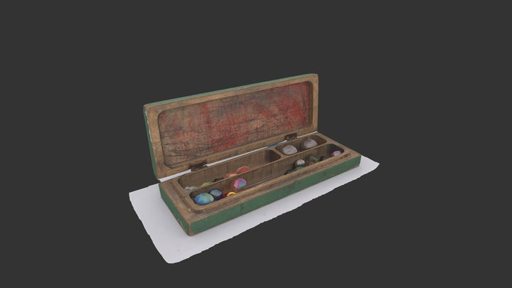 Pencil case with marbles from 1976 3D Model