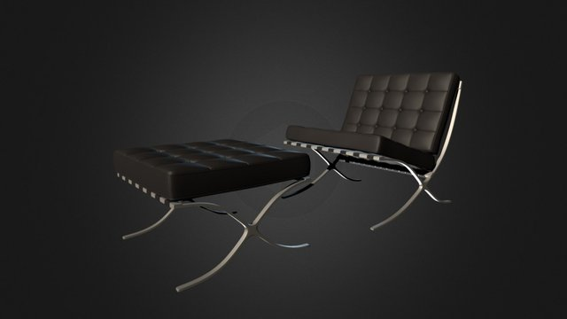 Barcelona chair and stool 3D Model