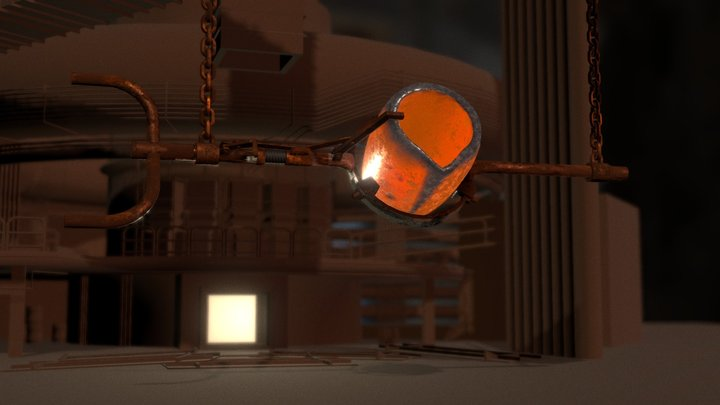 Factory with Crucible 3D Model