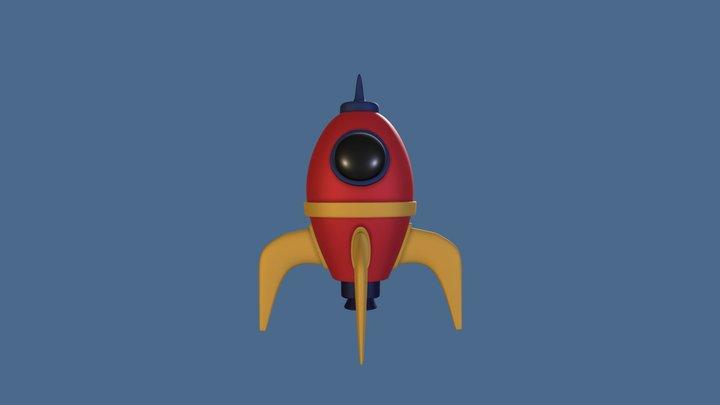 Hard Surface Cartoon Rocket 3D Model