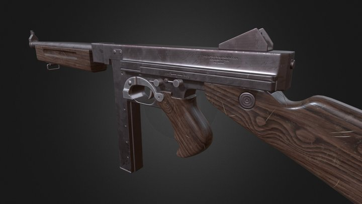 Thompson M1A1 Submachine Gun 3D Model