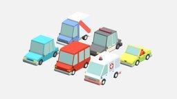 Low poly Cars pack 3D model 3D Model