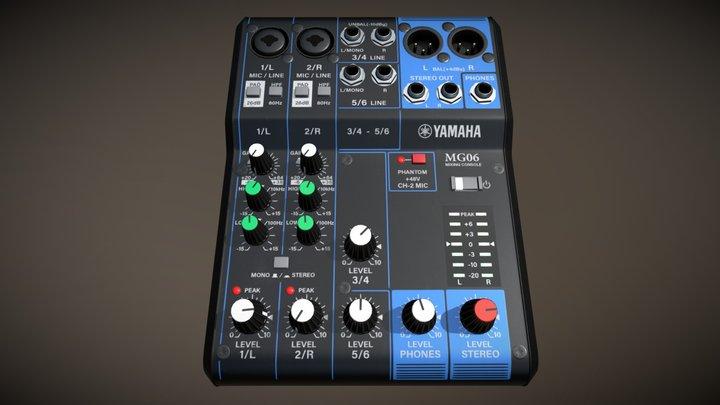Yamaha MG06 Mixer Lowpoly 3D Model