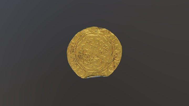 Edward III Gold Quarter Noble 1350 AD 3D Model