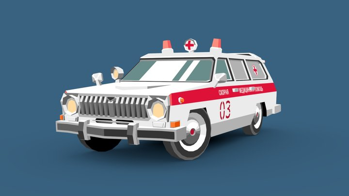 Volga GAZ 24-03 Ambulance 3D Model