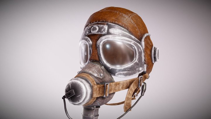 WW2 Pilot Helmet 3D Model