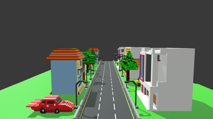 Voxel Village 3D Model