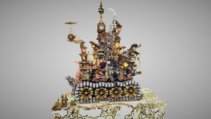 Steampunk Landship (made in Minecraft) 3D Model